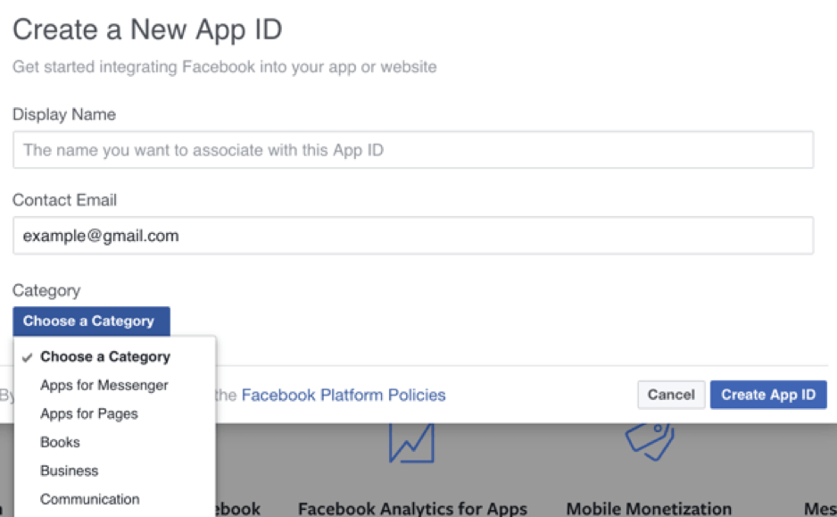 Fill in the details for your new Facebook app.