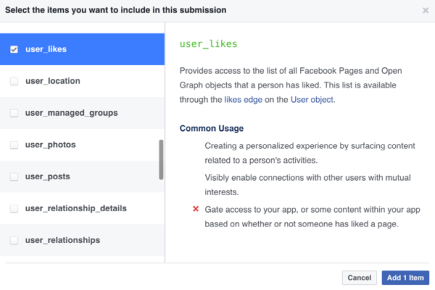 Select which items you want to include in your Facebook app submission