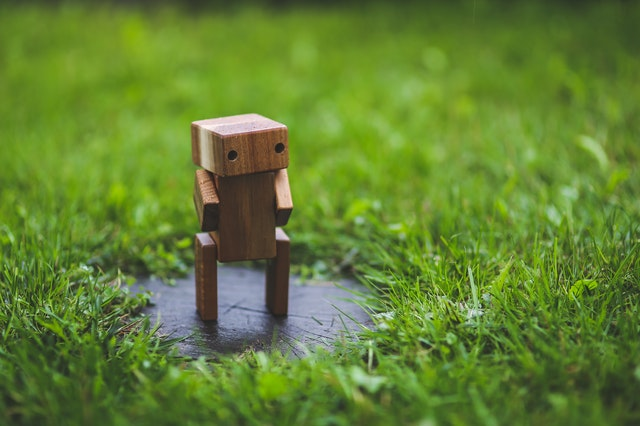 Conversion rate: An image of wooden robot surrounded by grass.