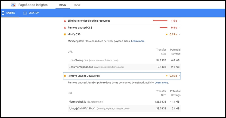 5 Simple Ways to Increase Your Website Loading Speed: An Screenshot image from Google page insight report.
