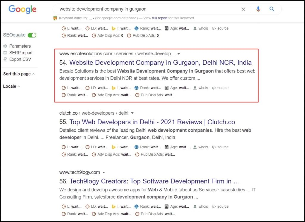 "Measure your ranking: Screenshot of Google SERP showing ranking of a keyword ""website development company in Gurgaon""."
