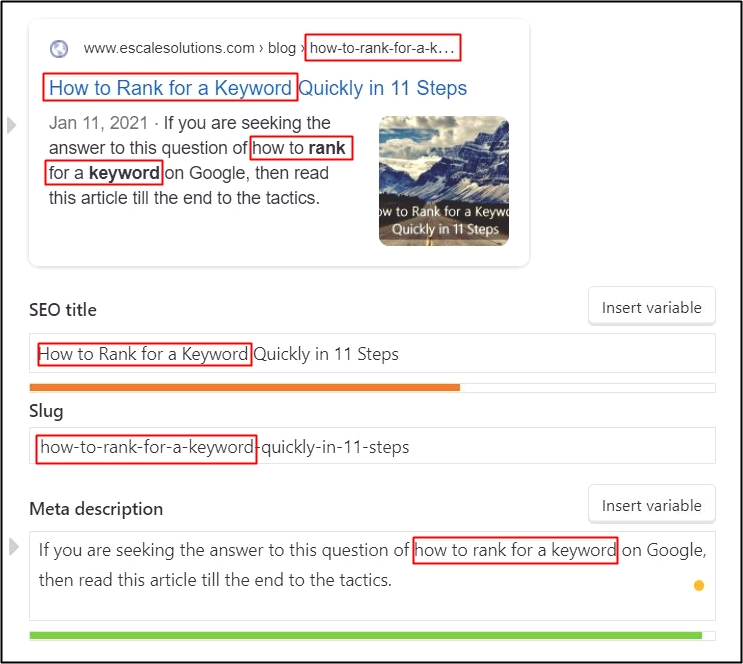 How to Rank for a Keyword: An image of an optimization of a keyword in Yoast SEO plugin interface in WordPress.