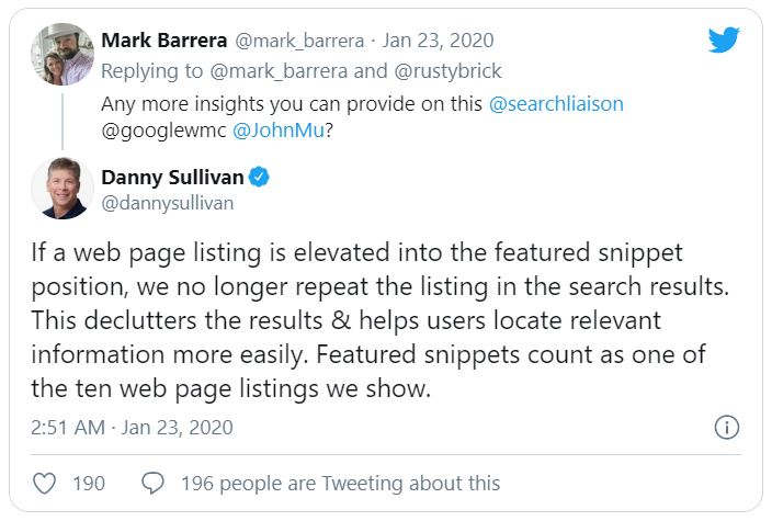 Screenshot image of a twitter reply from Danny Sullivan regarding Featured snippet de-duping update on January 23, 2020.